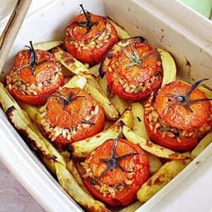 foto Pomodori ripieni di farro e asparagi di bosco